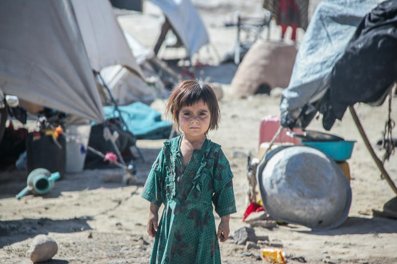 Kabul, Afghanistan, August 1 2021, refugee children after the collapse of the country in August 2021 by the Taliban in the North of the country