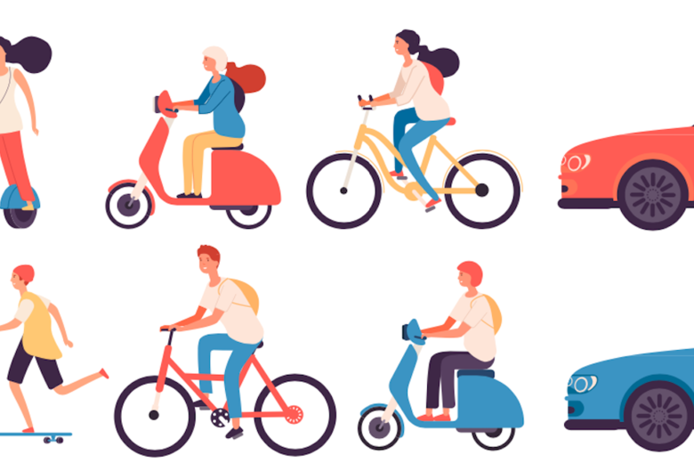 Montage of different vehicles from cars to scooters