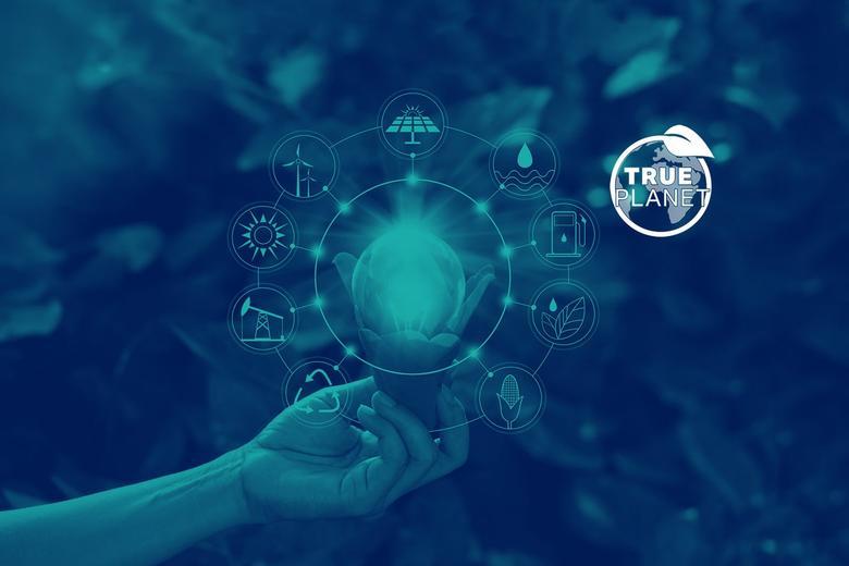True Planet logo - hand holding lightbulb of ideas
