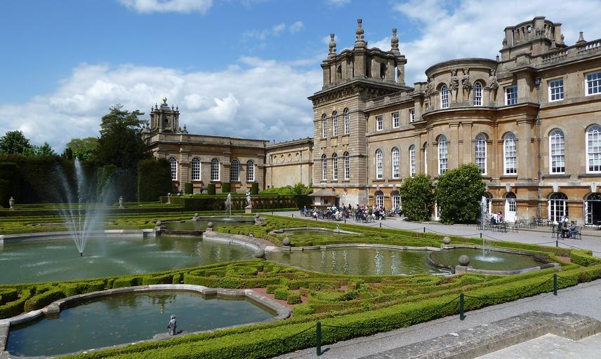 Part of the exterior of Blenheim Palace and some of the formal gardens