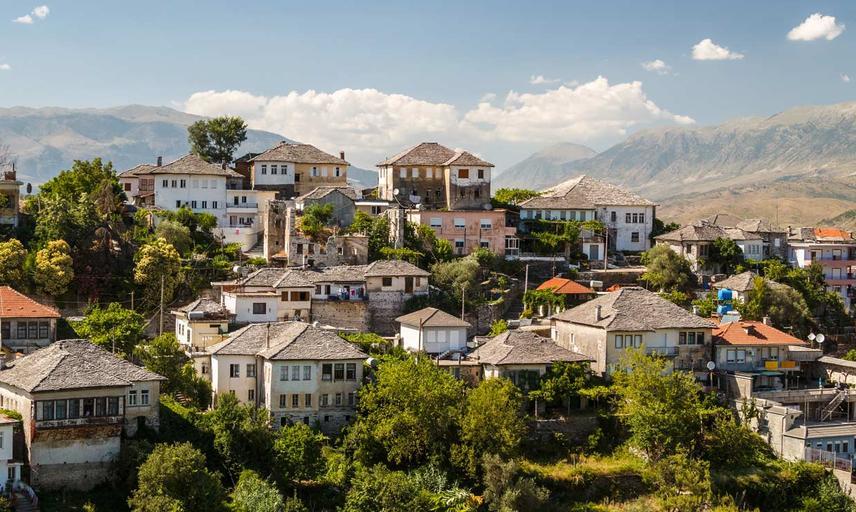 The hillside village of Gjirokasta in Albania