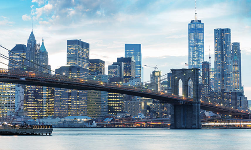 The New York skyline with Brooklyn Bridge in the foreground