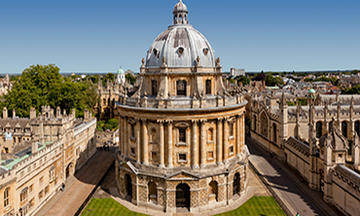 Looking down on the Radcliffe Camera in Oxford from an elevated position
